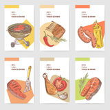 BBQ and Grill Hand Drawn Cards Brochure Menu with Meat, Steak and Vegetables. Food and Drink Royalty Free Stock Photography