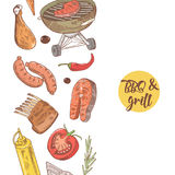 BBQ and Grill Hand Drawn Design with Meat, Sausage and Vegetables. Picnic Party Stock Photography