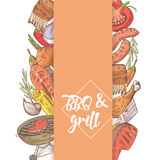 BBQ and Grill Hand Drawn Design with Steak, Fish and Meat. Picnic Party Stock Images