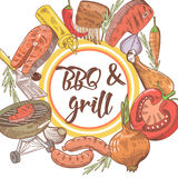 BBQ and Grill Hand Drawn Design with Steak, Fish and Meat. Picnic Party Royalty Free Stock Photos