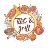 BBQ and Grill Hand Drawn Design with Steak, Fish and Sauce. Picnic Party. Vector illustration Royalty Free Stock Image