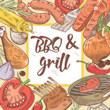 BBQ and Grill Hand Drawn Design with Steak, Fish and Vegetables. Picnic Party. Vector illustration Royalty Free Stock Image