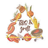 BBQ and Grill Hand Drawn Design with Steak, Meat, Fish and Vegetables. Picnic Party. Vector illustration Stock Images