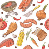 BBQ and Grill Hand Drawn Seamless Background with Steak, Meat, Fish and Vegetables. Picnic Party Pattern. Vector illustration Royalty Free Stock Photo