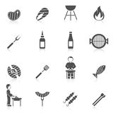 Bbq Grill Icon Black. Bbq grill equipment icon black set with skewer ketchup sauce isolated vector illustration vector illustration