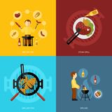 Bbq Grill Icon Flat. Bbq grill design concept set with fish and meat steaks cooking icon flat isolated vector illustration Stock Photo