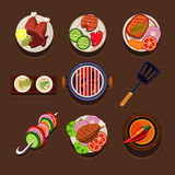 BBQ Grill Icon. Flat set with meat and fish steaks and cooking utensil isolated illustration Stock Photo
