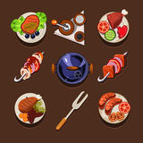 BBQ Grill Icon. Flat set with meat and fish steaks and cooking utensil isolated illustration Royalty Free Stock Photography