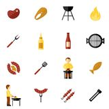 Bbq Grill Icon Flat. Set with meat and fish steaks and cooking utensil isolated vector illustration Royalty Free Stock Photos