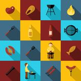 Bbq Grill Icon Flat. Set with sausage fork fish party isolated vector illustration royalty free illustration
