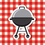 Bbq grill icon. BBQ grill over picnic tablecloth. Colorful design. vector illustration Royalty Free Stock Photo