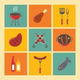 Bbq Grill Icons Flat Set. Fish and meat bbq food fire outdoor party icons flat set isolated vector illustration Royalty Free Stock Photography