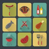 Bbq grill icons flat set. Fish and meat bbq food grilled sausages and steak flat set isolated vector illustration Royalty Free Stock Photo