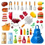 BBQ and grill icons and isolated design elements set. Vector barbecue food, equipment and tools illustration royalty free illustration