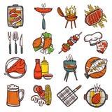 Bbq Grill kleurde Geplaatste Pictogrammen Royalty-vrije Stock Afbeeldingen