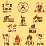Bbq grill label. Best premium quality fish and meat barbeque set isolated vector illustration Royalty Free Stock Photo
