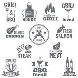 Bbq grill label. Steak fish and meat restaurant menu set isolated vector illustration Stock Image