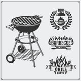 BBQ and grill labels set. Barbecue emblems and badges. Vector monochrome illustration Royalty Free Stock Images