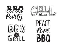 BBQ and grill lettering. Hand drawn lettering about BBQ and grill isolated on white background. Vector illustration. Barbecue time decorative text for poster vector illustration