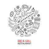 Bbq and grill line art circle Royalty Free Stock Photos