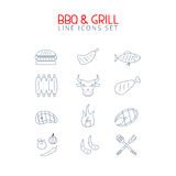 Bbq and grill line icons set. Minimalistic food elemts for web and prints Royalty Free Stock Photo