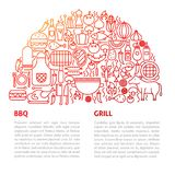 BBQ Grill Line Template. Vector Illustration of Outline Design Stock Photo