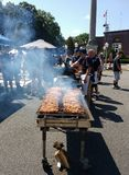 BBQ Grill at a Local Street Fair stock photo