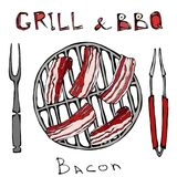 BBQ and Grill Logo. Bacon on a Barbeque Grill. Roasted Pork Slises. With Fork and Tongs. Restaurant Menu. English. Breakfast Ingredient. Hand Drawn Illustration stock illustration