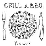 BBQ and Grill Logo. Bacon on a Barbeque Grill. Roasted Pork Slises. With Fork and Tongs. Restaurant Menu. English. Breakfast Ingredient. Hand Drawn Illustration vector illustration