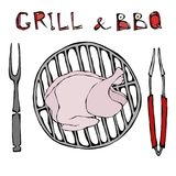 BBQ and Grill Logo. Crude Chicken or Turkey on a Barbeque Grill. With Fork and Tongs. Restaurant Menu. English Breakfast royalty free illustration
