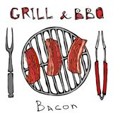 BBQ and Grill Logo. Fried Bacon on a Barbeque Grill. Roasted Pork Slises. With Fork and Tongs. Restaurant Menu. English. Breakfast Ingredient. Hand Drawn stock illustration