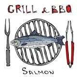 BBQ and Grill Logo. Salmon on a Barbeque Grill. With Fork and Tongs. Seafood Logo. Sea Restaurant Menu. Hand Drawn. Illustration. Savoyar Doodle Style Royalty Free Stock Image