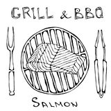 BBQ and Grill Logo. Salmon Filet on a Barbeque Grill. With Fork and Tongs. Seafood Logo. Sea Restaurant Menu. Hand Drawn. Illustration. Savoyar Doodle Style vector illustration