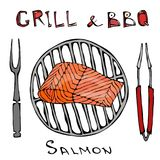 BBQ and Grill Logo. Salmon Filet on a Barbeque Grill. With Fork and Tongs. Seafood Logo. Sea Restaurant Menu. Hand Drawn. Illustration. Savoyar Doodle Style Royalty Free Stock Photos
