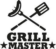 BBQ grill master with cutlery and sausage. Vector vector illustration