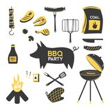 BBQ grill meat barbecue restaurant party at home dinner vector products skewer grilling kitchen equipment flat. Illustration Meat food for family summer time stock photography