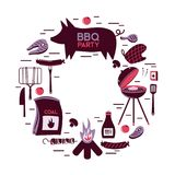 BBQ grill meat barbecue restaurant party at home dinner vector products skewer grilling kitchen equipment flat Royalty Free Stock Images