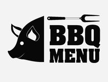 Bbq and grill menu design. Pork pig bbq and grill menu icon. Steak house food and restaurant theme. Isolated design. Vector illustration Stock Images