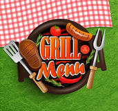 BBQ Grill menu. BBQ Grill menu - Typographical Design Label or Sticer on the background of green grass and rustic tablecloths in red and white squares Royalty Free Stock Photography
