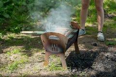 Bbq-Grill mit Rauche auf Natur, Grillw?rste stockfotografie