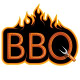 BBQ Grill. Сooking meat on fire. Barbecue Party. Bbq logo Stock Image