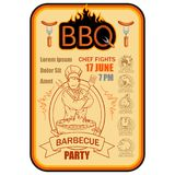 BBQ Grill. Сooking meat on fire. Barbecue Party. Bbq logo Royalty Free Stock Images
