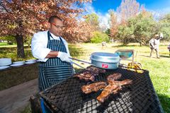 BBQ Grill at Outdoor Food Festival stock photo