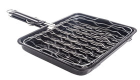 Bbq grill pan, barbecue grill camping basket Stock Images