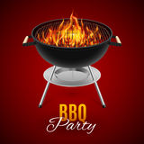 BBQ grill. BBQ party banner grill with fire on red stock illustration