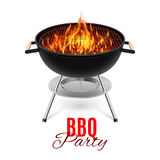 BBQ grill. BBQ party banner grill with fire on white stock illustration