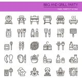 BBQ and Grill Party. Thin Line and Pixel Perfect Icons royalty free illustration