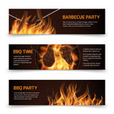 Bbq grill party horizontal vector banners set with realistic hot fire. Bbq party banner and bbq picnic illustration Stock Images