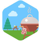 BBQ Grill Party. The image of a grill against a lawn and a table for picnic stock illustration