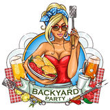BBQ Grill Party label design Stock Photography